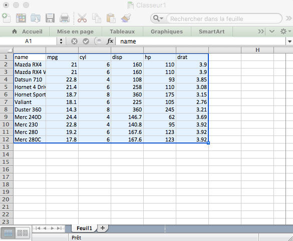 Copy data from excel to R